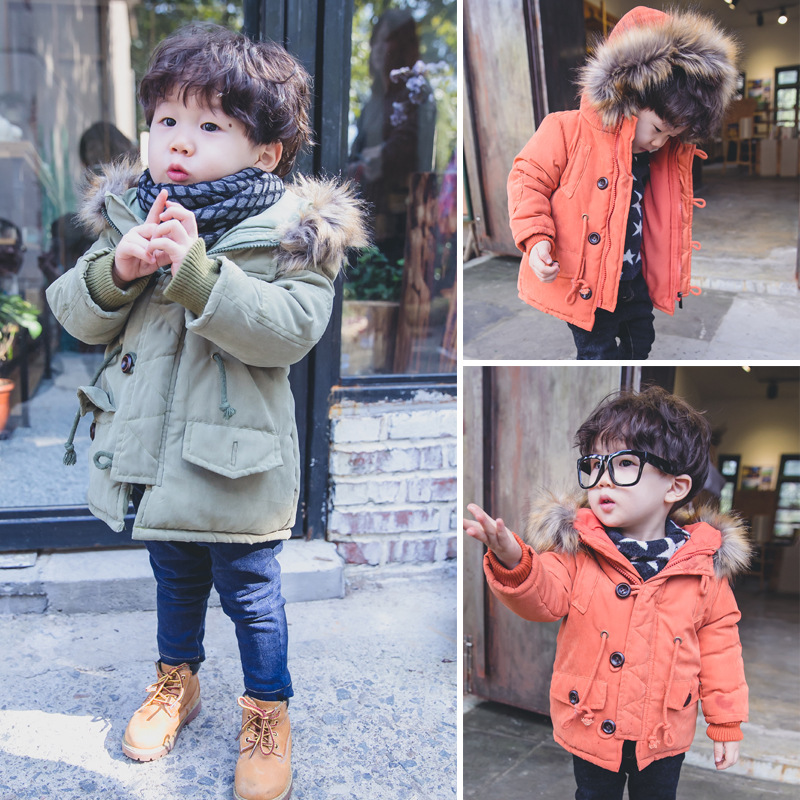 Children Winter Jacket Kids Boys Solid Color Hooded Coat Thick Warm Boys Winter Outwear Kids Casual Outwear Baby Clothing 2016 winter boys wadded jacket kids hooded spider printed thick fleece red blue coat toddler warm outwear children clothes 2 4t
