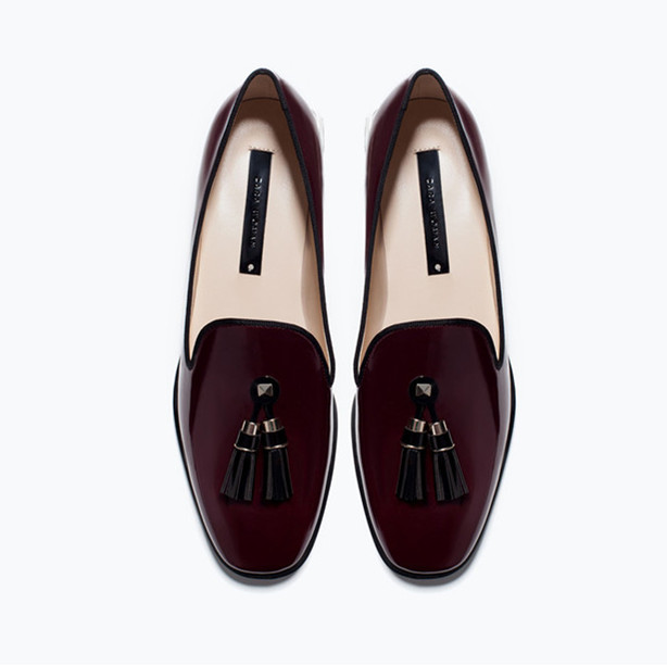 107ec1d4e05ac 2015 Women's Fashion Vintage Burgundy Block Heels Tassel Loafers Closed Toe  Patent Leather Flats Heels Stylish Casual Shoes-in Loafers from Shoes on ...