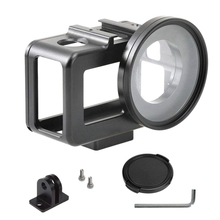 Aluminum Alloy Housing Frame Case With Back Door For D-ji Os-mo Action Camera,Protective Metal Side Open Shell 52Mm Uv Filt