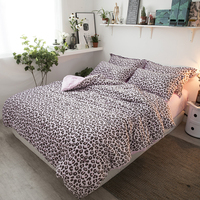 Pink Leopard Print Bedding Sets 3 Or 4Pcs Queen King Twin Size Flannel Bedlinens Duvet Cover