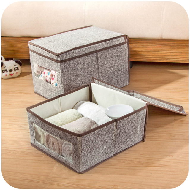 Japanese Style Linen Clothes With Windows Storage Box, With Cover Clothing  Finishing Boxes,