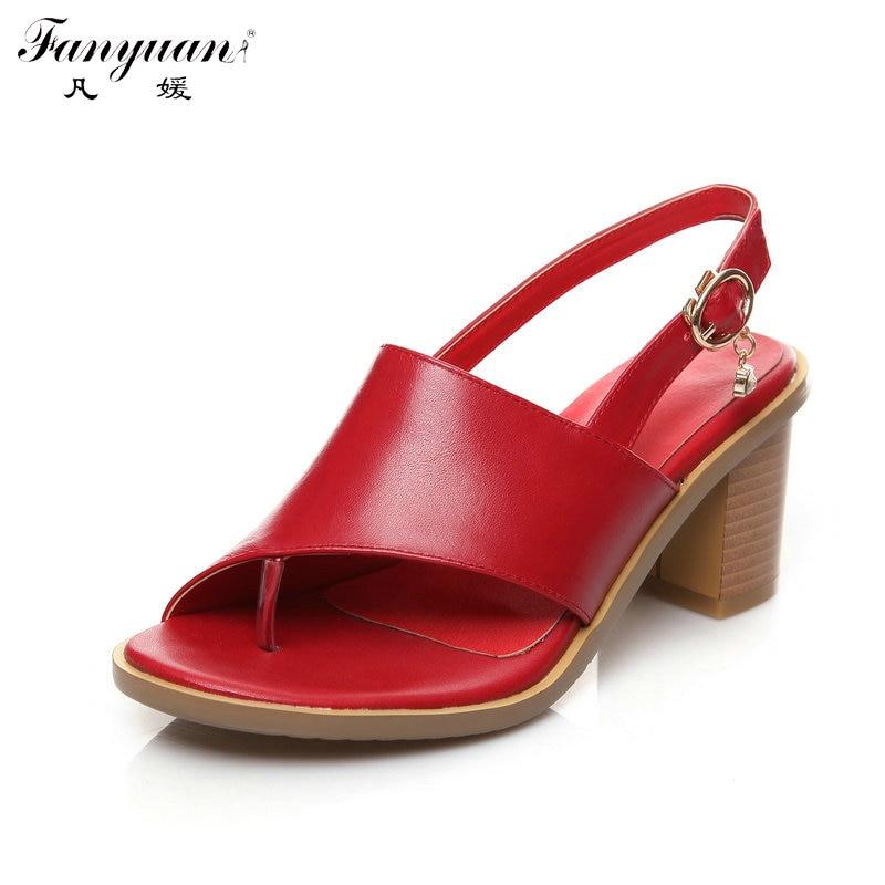 ФОТО Gladiator Sandals Women Back Strap Thick High Heels Shoes Women Genuine Leather Big Size Flip Flop Sandals 2017 Summer Big Size