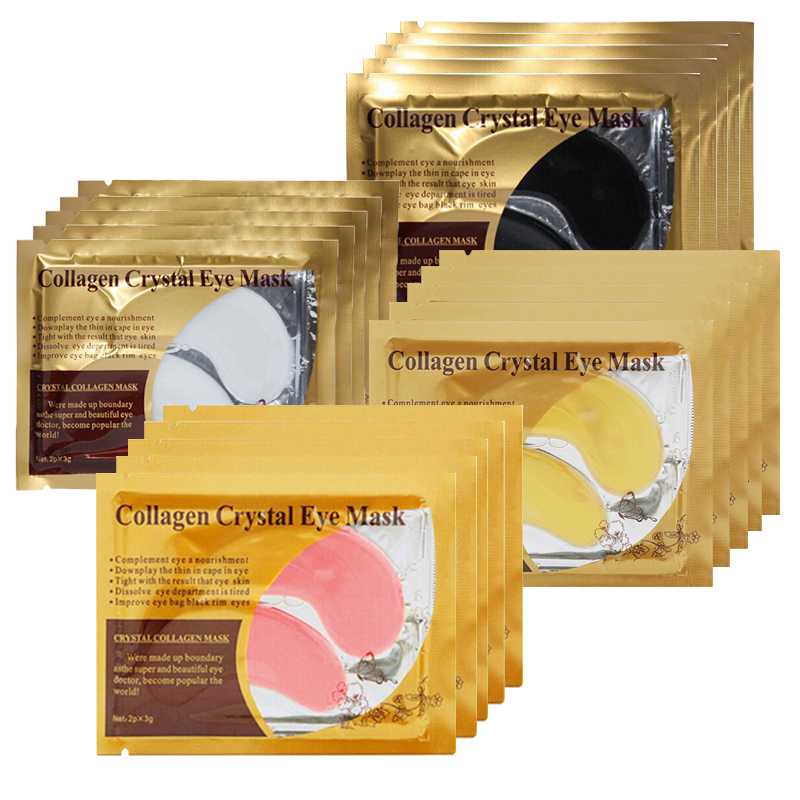 Putimi 5pair=10pcs 24K Gold Eye Mask Collagen Face Anti-Aging Remove Dark Circles Patches Under the Eyes Pad