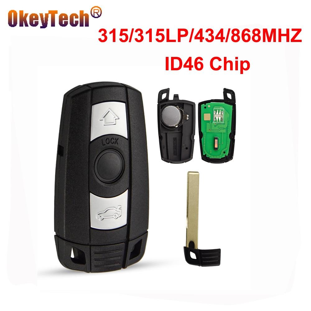 OKeyTech 3 Button 315/315lp/434/868MHZ ID46 Chip Smart Key For BMW 1 3 5 6 Series E91 E92 E60 E90 Replacement Key Remote Car Key