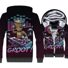 streetwear long sleeve hoodies Super hero 3D print jackets coat men 2018 thick sweatshirt fashion Tree man Groot clothing