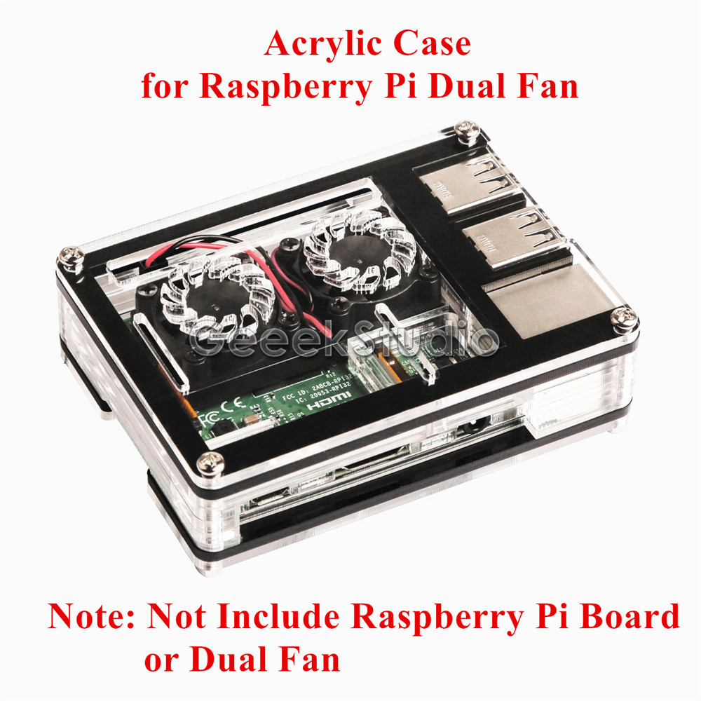 Sliced 9 Layers Acrylic Case Box, Not include Raspberry Pi 3/2 Model B or Dual Fan Double Cooling Fans Heatsink