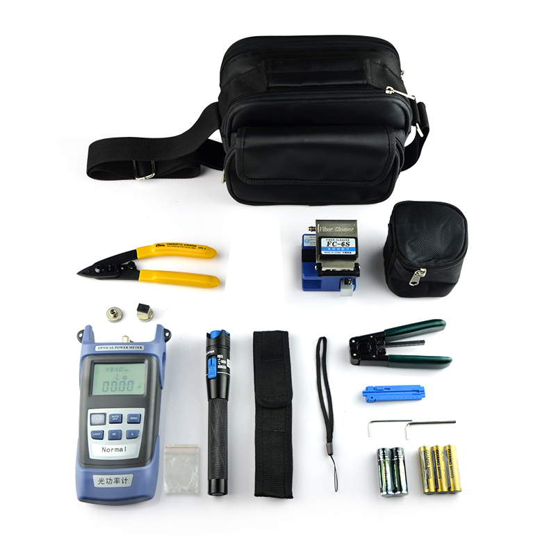 Kit d'outils de câbles à Fiber optique avec compteur de puissance optique localisateur de défaut visuel stylo 5 km et FC-6S de couperet de Fiber et décapants optiques