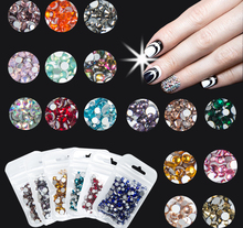 400pcs Blue/Green/Pink/White Opal 3D Nails Art Glass Non HotFix Rhinestone,DIY Flatback Crystal Non Hotfix Nail Decoration