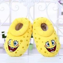 New Winter Warm Women's Indoor Shoes SpongeBob Bulk Chinchilla Cotton Shoes Home Slippers Plush Soft Bottom Non-slip Floor Shoes