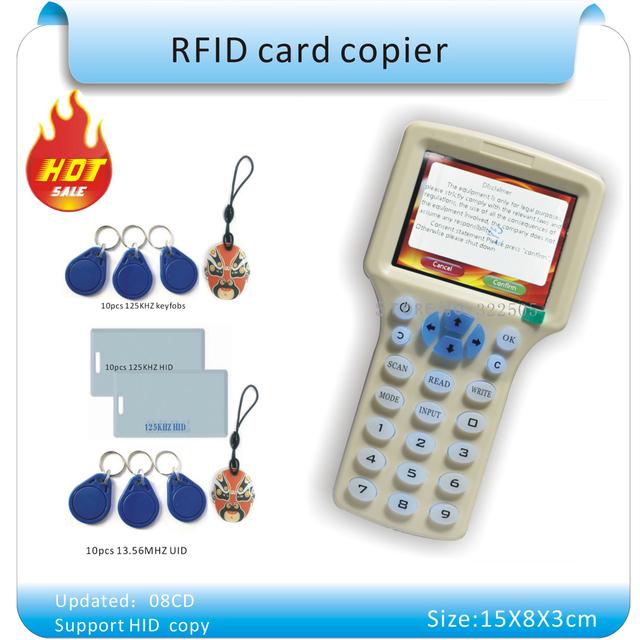Atualizado versão Inglês 10 freqüência RFID Copiadora ID/IC Leitor Escritor/copiar M1 13.56 MHZ Sector0 criptografado + 30 pcs 3 tipos de tags