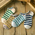 10 peças = 5 pairs new chegou verão 2016 Korea estilo homens tornozelo meias de algodão da listra meias maré Personalidade, agradável dos homens meias
