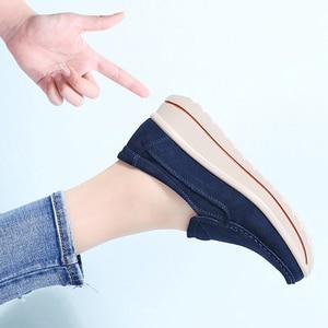 Image 5 - STQ 2020 Autumn Women Flats Shoes Platform Sneakers Shoes Leather Suede Platform Shoes Slip On Flats Creepers Moccasins 3507