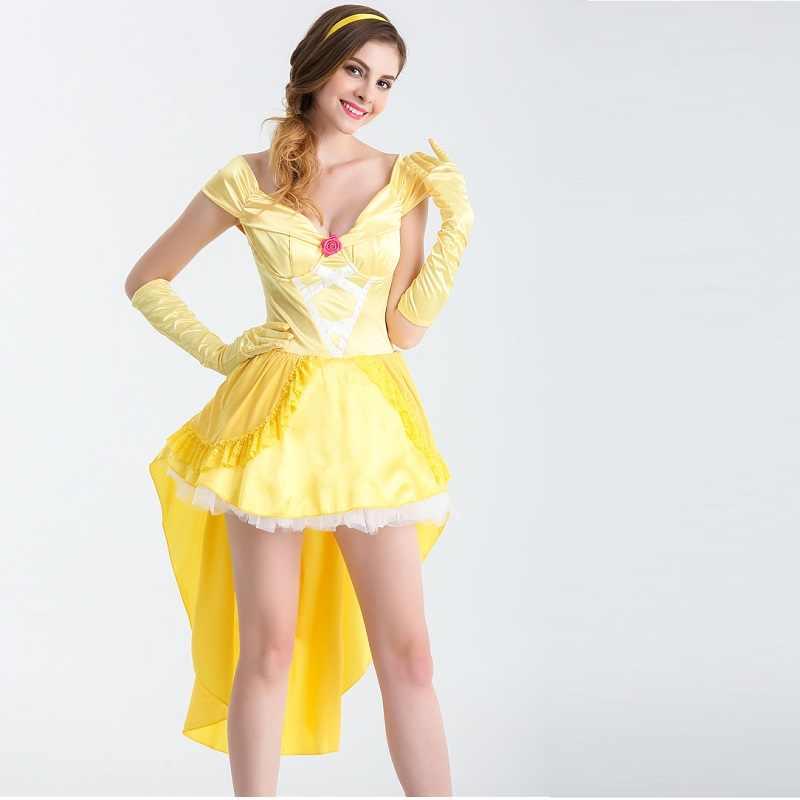 e68edf1d29f Красота и чудовище Необычные платья Косплэй костюм Принцесса Белль взрослых  женщин сексуальный костюм для хеллоуина для