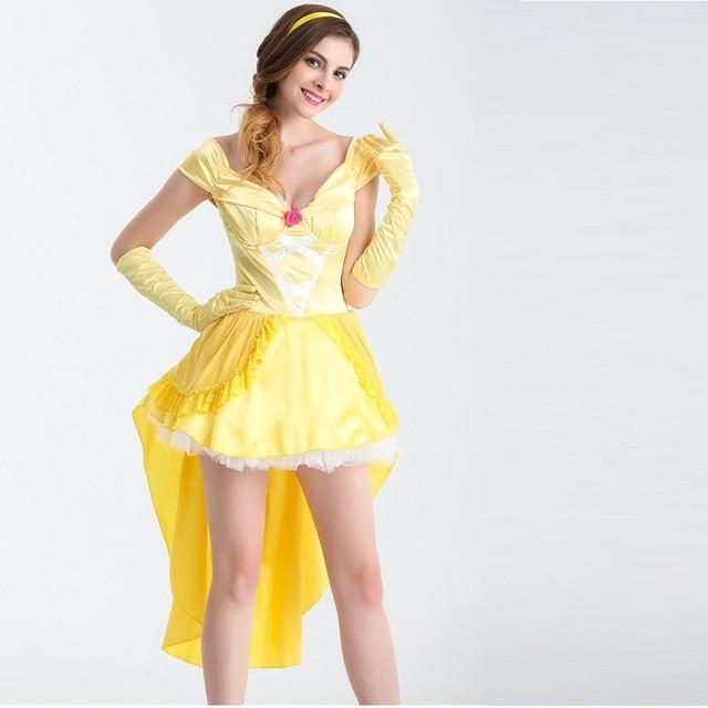 093af13a09b6 Belleza y la Bestia vestido de fantasía Cosplay disfraz princesa bella mujer  adulto disfraz de halloween