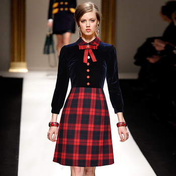 Velvet Patchwork Women Fashion A-Line Dresses Turn-Down Neck Big Bow Buttons Long Sleeves Vintage Plaid Runway Dress a-line