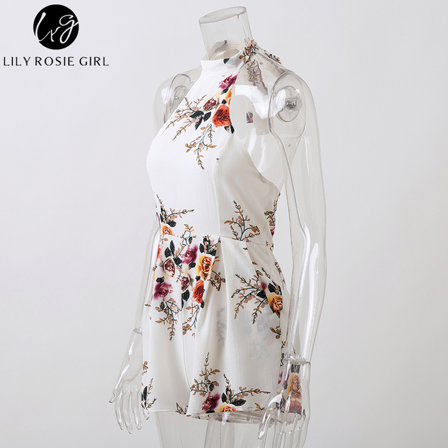 Lily Rosie Girl White Floral Sexy Backless Jumpsuit Women Halter Bow Sleeveless Boho Short Rompers Summer Beach Party Playsuits