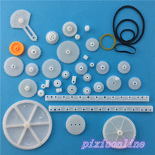 34pcs K011Y Plastic DIY Gear Set Include Rack Pulley Belt Worm Single