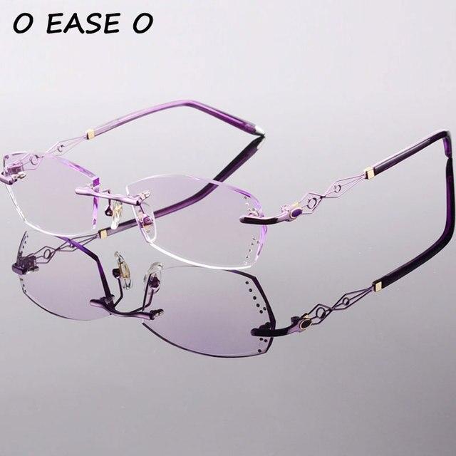 2017 de Titânio Óculos Sem Aro Óculos De Luxo Mulheres Coreanas Incluindo  1.61 Asphereic Tinted Lentes e24e7f2f5a
