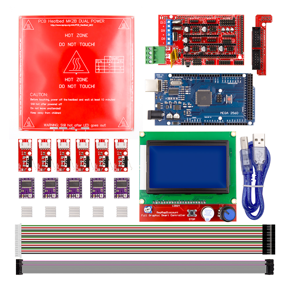 Reprap Ramps 1.4 Kit With Mega 2560 r3 + HeatBed mk2b + 12864 LCD Controller + DRV8825 +Mechanical switch +Cables For 3D PrinterReprap Ramps 1.4 Kit With Mega 2560 r3 + HeatBed mk2b + 12864 LCD Controller + DRV8825 +Mechanical switch +Cables For 3D Printer