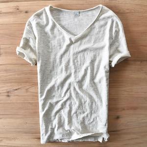 Image 5 - Мужская хлопковая футболка с коротким рукавом, Повседневная белая футболка с v образным вырезом в итальянском стиле, летняя брендовая одежда
