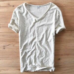 Image 5 - איטליה סגנון אופנה קצר שרוול כותנה גברים חולצה מקרית V צוואר לבן קיץ חולצה גברים מותג בגדי Mens Tshirts Camiseta