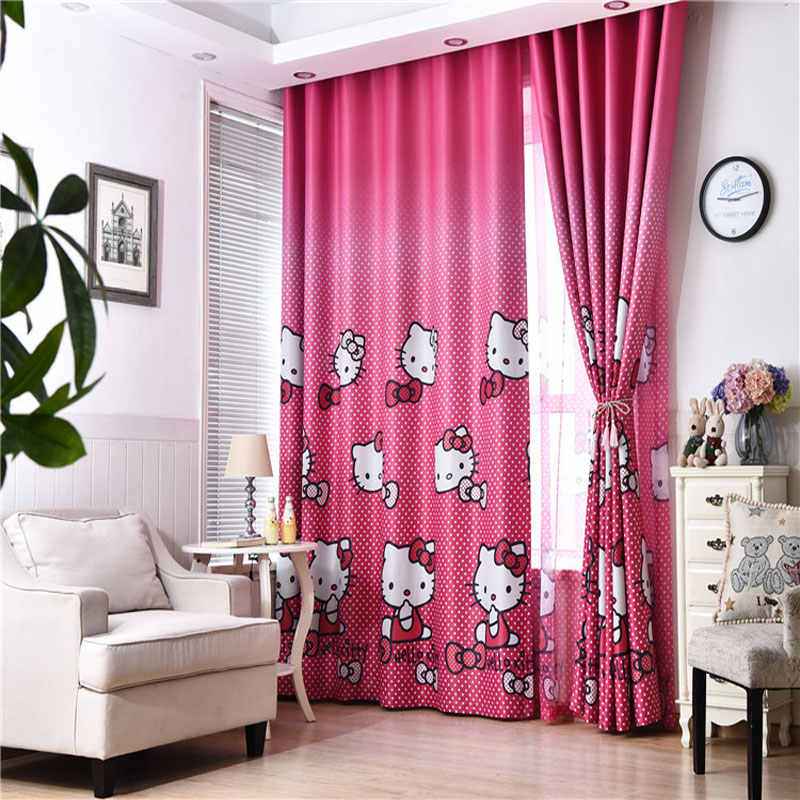 Hello Kitty Pink Princess Curtains for Girl's Room Curtain Bathroom Curtains Home Decors