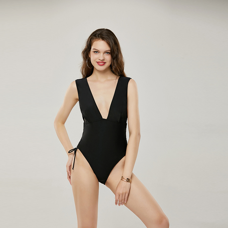 LaFata Women's Surplice Neckline High Waisted Halter One Piece Monokini Swimsuit image
