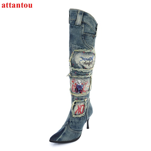 2017 Denim retro style woman long boots thin heel knee-high booties autumn fashion female shoes patch embroidery casual shoes