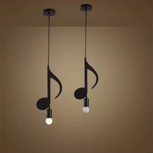 Image 5 - Feimfeiyou A Z słowa postać muzyczna e27 kreatywny czarny wisiorek Led lampa dla Bar sypialnia bookroom lampa wisząca