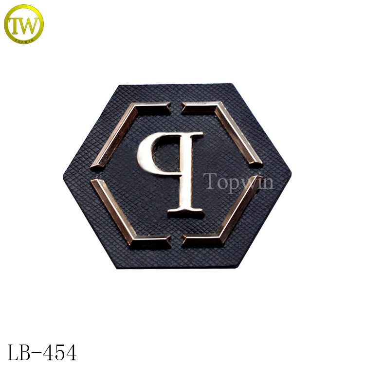 LB454 Garment embossed metal logo leather labels for jeans leather patch 70ed87e40a602