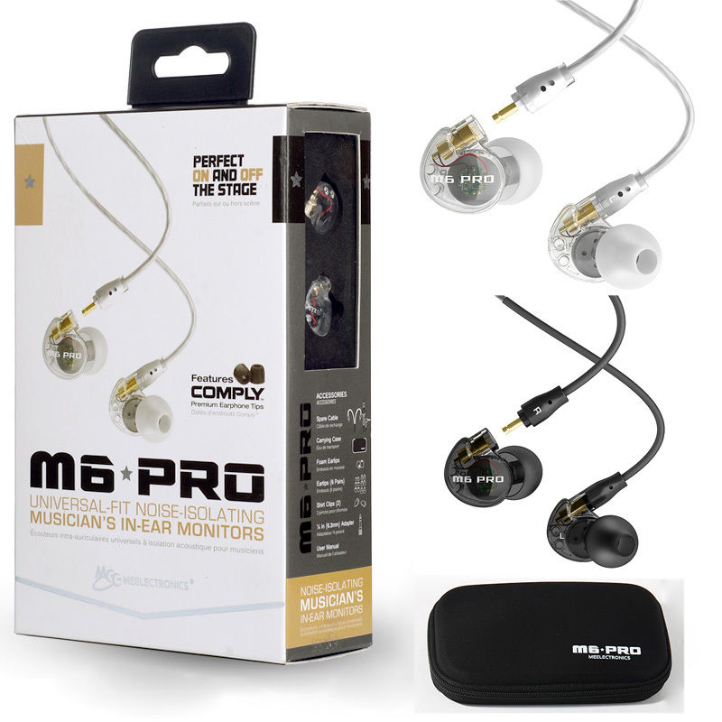 MEE M6 PRO Universal-Fit Noise-Isolating Musician's In-Ear Monitors with Detachable Cables with retail box pk SE215 SE535 SE315 shure blx288e b58 k3e