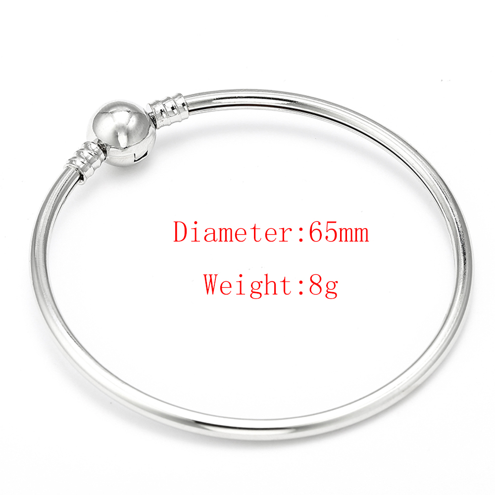 HOMOD High Quality New Silver Snake Chain Brand Bracelet Bangle 65mm Diameter European Bangles DIY Jewelry in Charm Bracelets from Jewelry Accessories