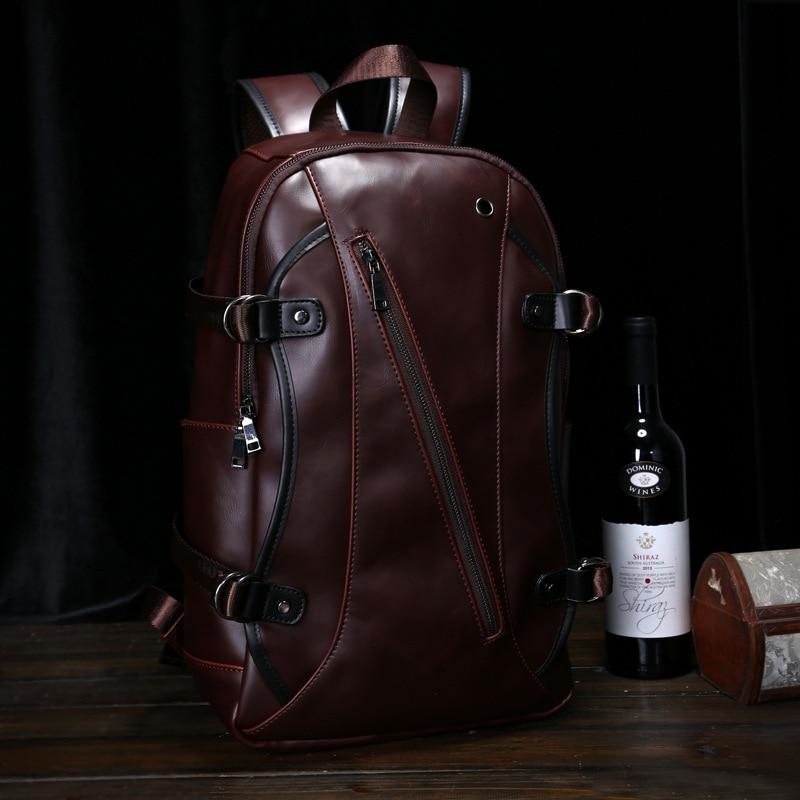 2018 sac à dos pour homme marron sac à dos adolescent en cuir Vintage sac d'école collège sac à dos d'école avec beaucoup de poches Bolsa