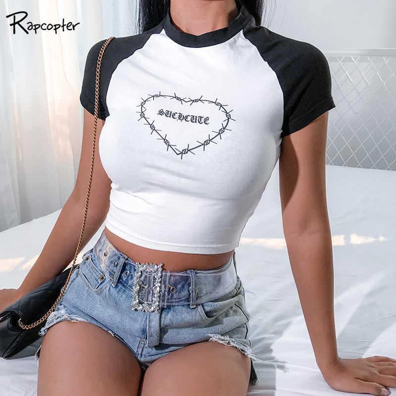 Рпкоптер Белый Черный Лоскутная Женская Повседневная футболка с о-образным вырезом и надписью модная футболка с коротким рукавом женские модные короткие топы