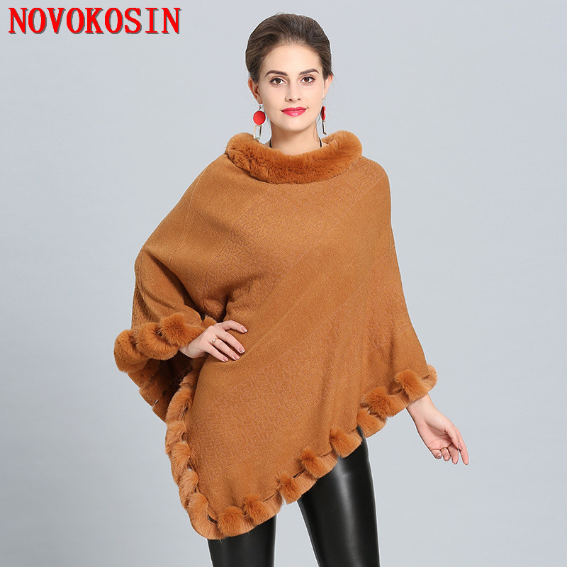 18dd95526e2 SC283 Women Capes Solid Poncho 2018 Winter Faux Fox Fur Shawl Knitted  Triangle Fur Sweater Plus Size Pullover Coat Fur Neck-in Women s Scarves  from Apparel ...