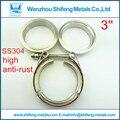 3.0 pulgadas de diámetro de acero Inoxidable 304 V abrazadera de Banda Normal con Macho y hembra kit de brida