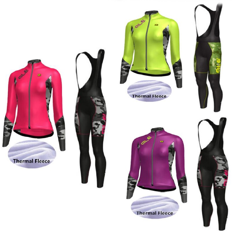 Ropa ciclista invierno mujer 2017 women winter long sleeve thermal fleece cycling clothes bicycle MTB bike jersey bib pants set
