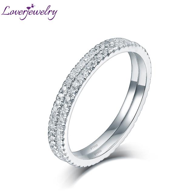 100% Natural Diamond Completa Pave Platino Dos Alianzas de Boda Anillo de Pareja de Joyería Fina