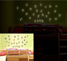 26Pcs Alphabet Energy Storage Fluorescent Glow In The Dark Christmas Kids Bedroom ABC Wall Stickers Baby Rooms Home Decoration