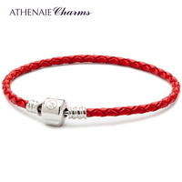 ATHENAIE אדום כסף סטרלינג 925 הצמד אבזם צמיד עור קלוע אחת מתאים מתאים לכל חרוז קסם אירופאי