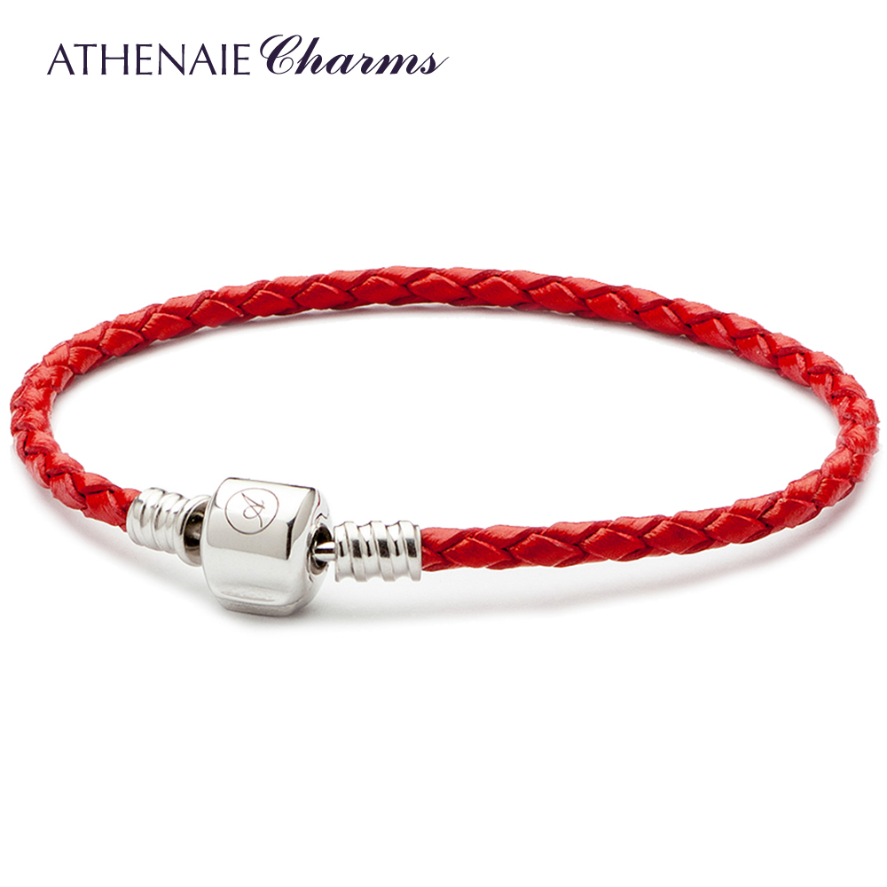 ATHENAIE Red Single Braided Leather 925 Sterling Silver Snap Clasp Bracelet Fits Fit All European Charm Bead