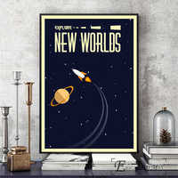 Space Vintage Soviet Artwork Wall Art Canvas Painting Poster For Home Decor Posters And Prints Unframed Decorative Pictures