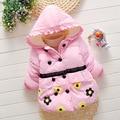 2016 lovely winter new kids baby flowers velvet jacket girls floral warm hoodie button lace coat children outwear wholesale