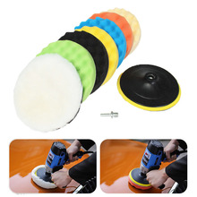 8Pcs 7 Sponge Polishing Waxing Buffing Pads Kit For Compound Auto Car + Drill