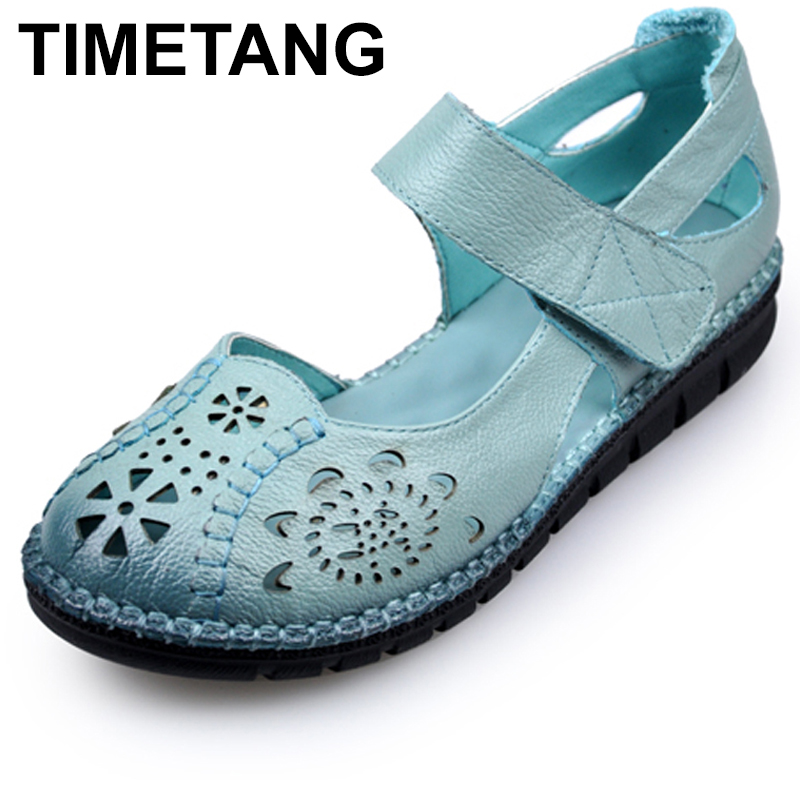 TIMETANG Summer New Soft Bottom Flat Genuine Leather Women Shoes Personality Hollow Women Retro Handmade Sandals sapato C170 new national wind flowers handmade genuine leather shoes women retro soft bottom flat shoes summer canvas ballet flats k62