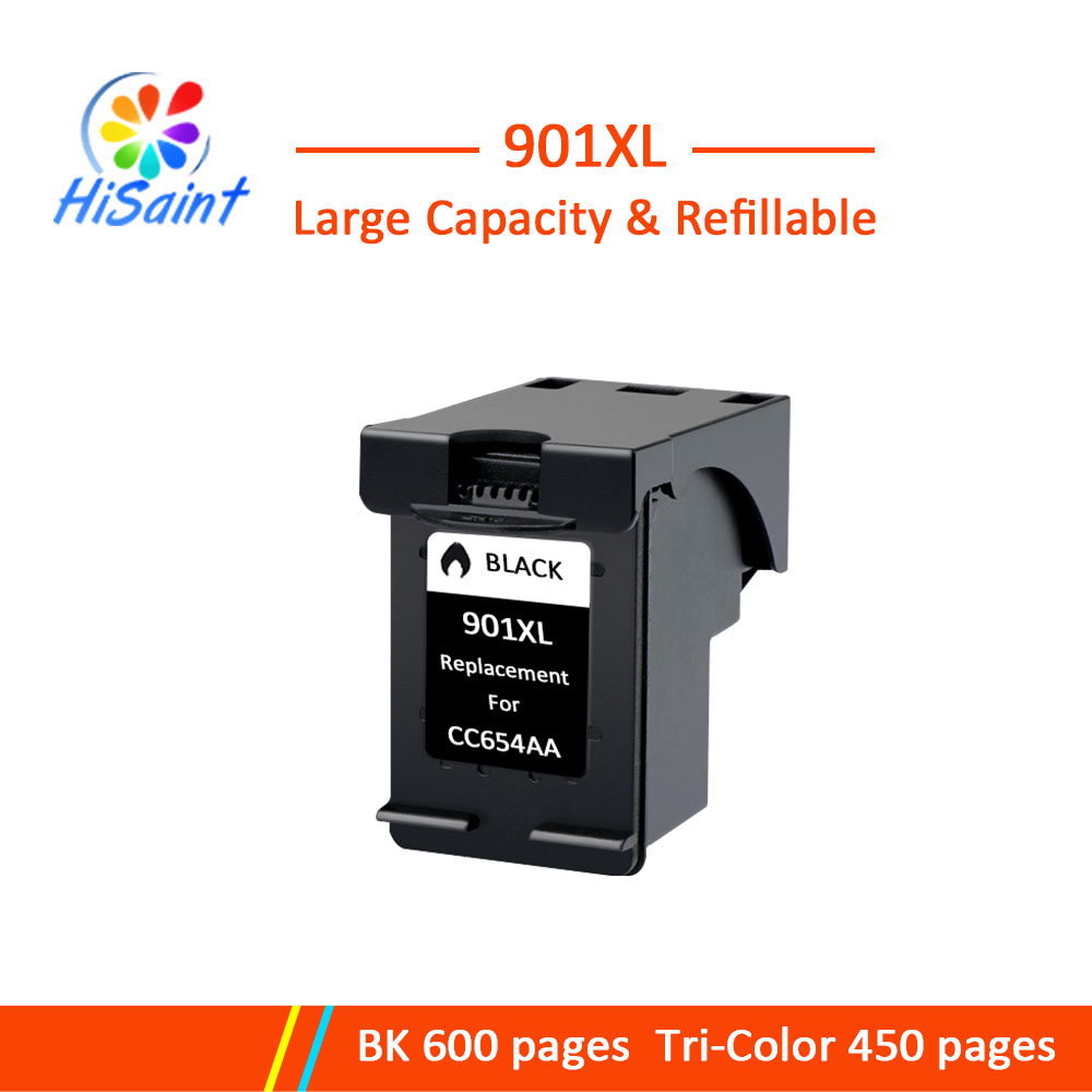 Hisaint 901XL Black Refilled Ink Cartridge Replacement for <font><b>HP</b></font> <font><b>901</b></font> <font><b>xl</b></font> for <font><b>HP</b></font> 4500 J4500 J4525 J4540 J4550 J4580 J4585 J4680 image