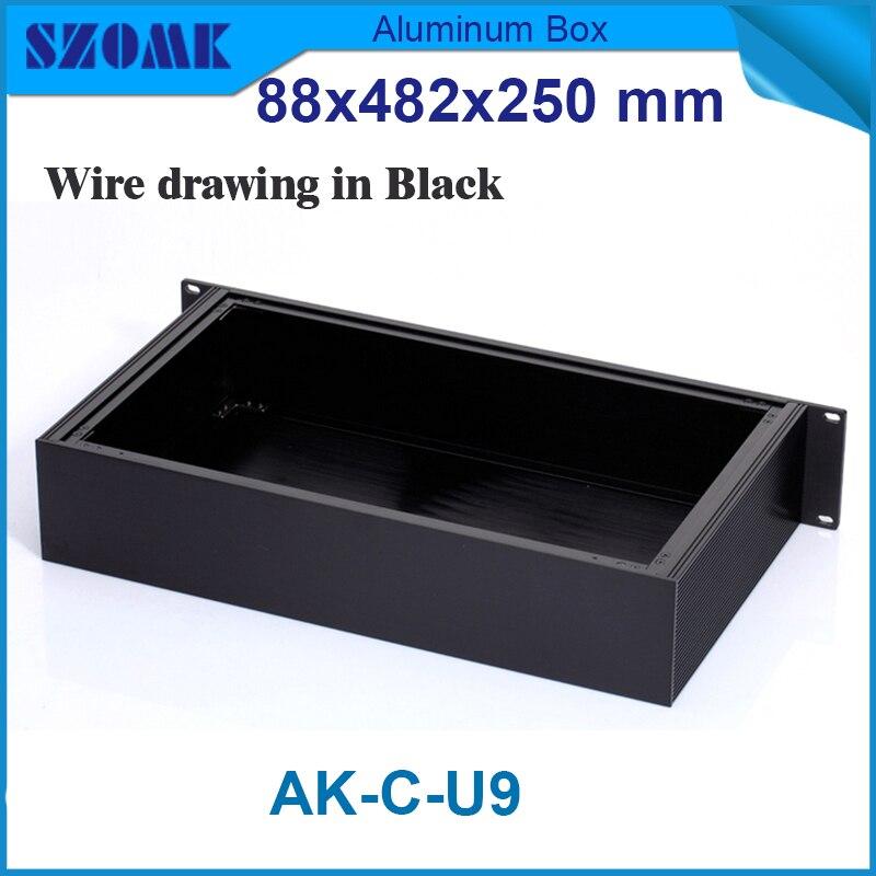 Szomk de jonction en aluminium logement boîtiers électroniques 19 pouce rack instrument cas 88 (H) x482 (W) x250 (L) mm