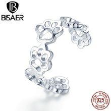 BISAER – bague ajustable en argent Sterling 925 pour femme, bijou avec empreintes de chien et chat, 925