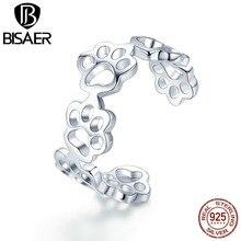 BISAER 925 Sterling Silver Animal Footprints Rings Cat Dog Footprints Finger Adjustable Ring for Women 925 Jewelry Anel ECR424