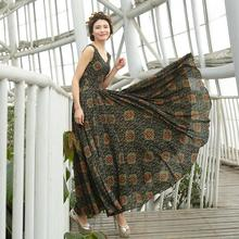 2016 New Fashion National Wind Expansion Bottom Vintage Print Dress Ultra Long Sleeveless Chiffon Dress Floor-Length Dress S-4XL
